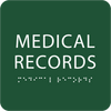 Green Medical Records Tactile Sign