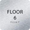 Aluminum Floor 6 Level Identification ADA Sign