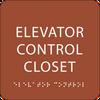Orange Elevator Control Closet ADA Sign