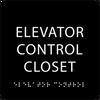 Black Elevator Control Closet ADA Sign
