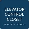Dark Blue Elevator Control Closet ADA Sign