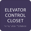 Purple Elevator Control Closet ADA Sign
