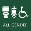 Forest Green All Gender Neutral Restroom Sign