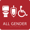 Red All Gender Neutral Restroom Sign