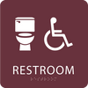 Burgundy Accessible Toilet Sign