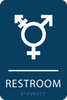 Dark Blue Inclusive Restroom ADA Sign