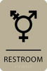 Khaki Inclusive Restroom ADA Sign