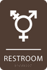 Dark Brown Inclusive Restroom ADA Sign