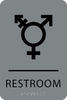 Grey & Black  Inclusive Restroom ADA Sign