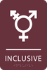 Burgundy Inclusive Gender Neutral Bathroom Sign