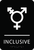 Black Inclusive Gender Neutral Bathroom Sign