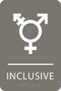 Dark Grey Inclusive Gender Neutral Bathroom Sign