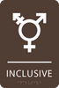 Dark Brown Inclusive Gender Neutral Bathroom Sign