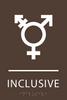 Dark Brown Inclusive Gender Neutral Bathroom Sign