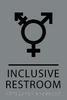 Grey Black Inclusive Restroom ADA Sign