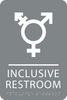 Grey Inclusive Restroom ADA Sign
