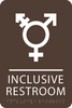 Dark Brown Inclusive Restroom ADA Sign