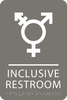 Dark Grey Inclusive Restroom ADA Sign