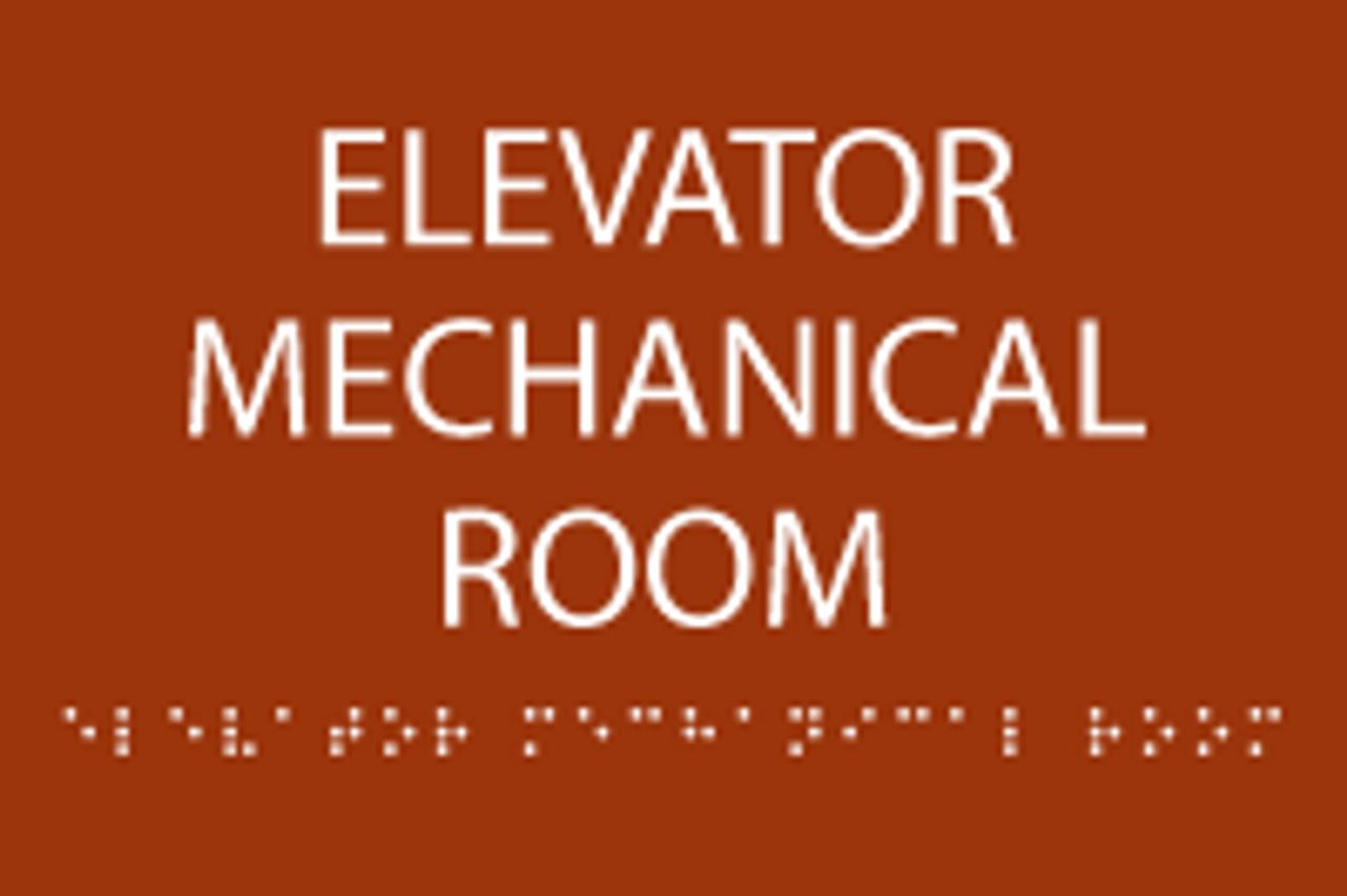 Elevator Mechanical Room ADA Sign