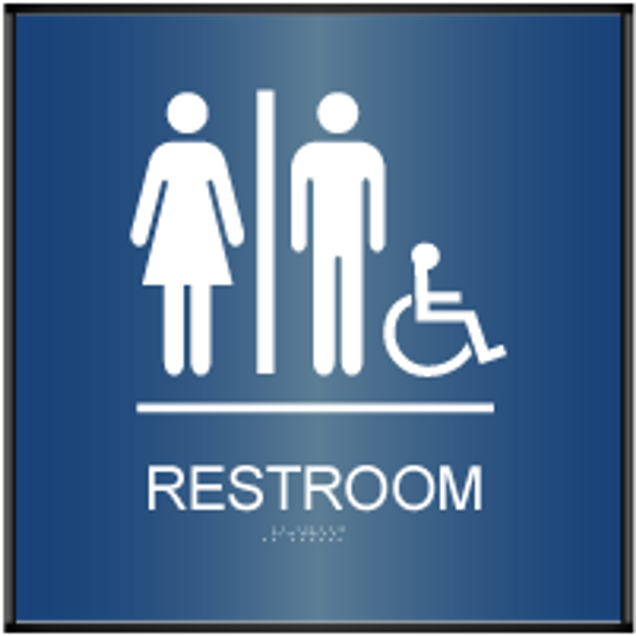 Curved ADA Unisex Accessible Restroom Sign