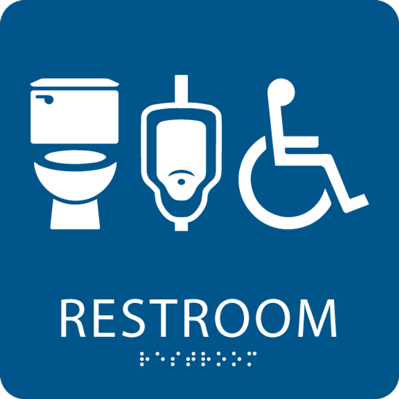 Gender neutral restroom sign with braille