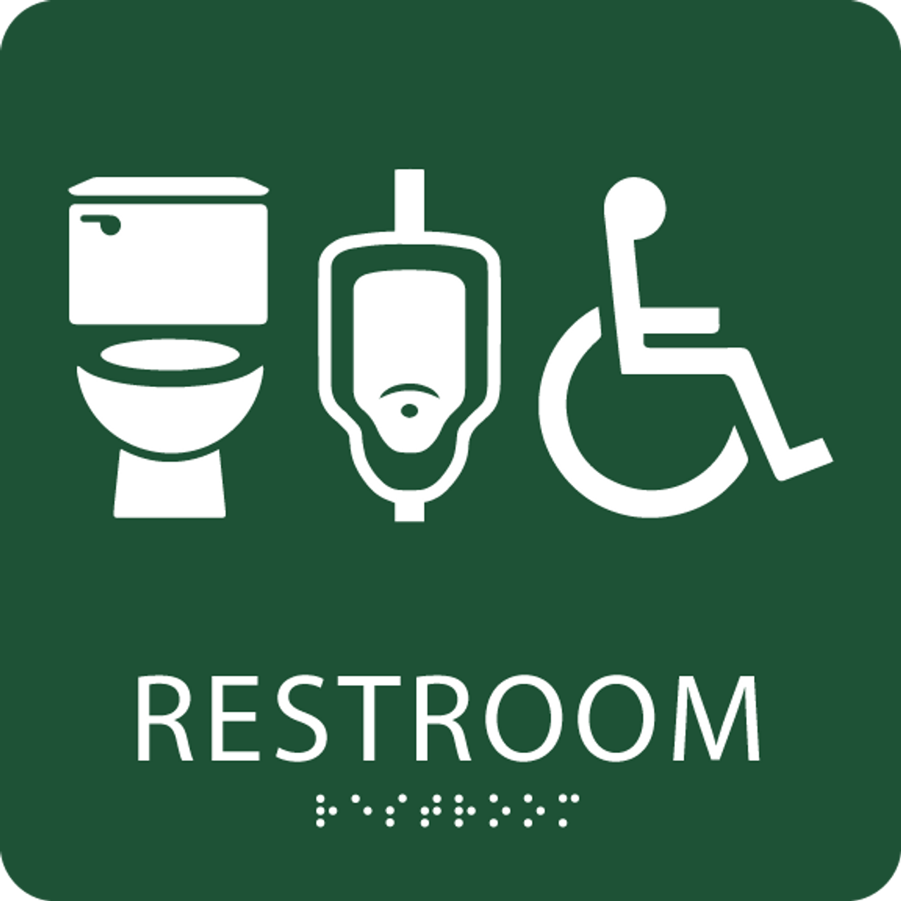 Green unisex restroom sign
