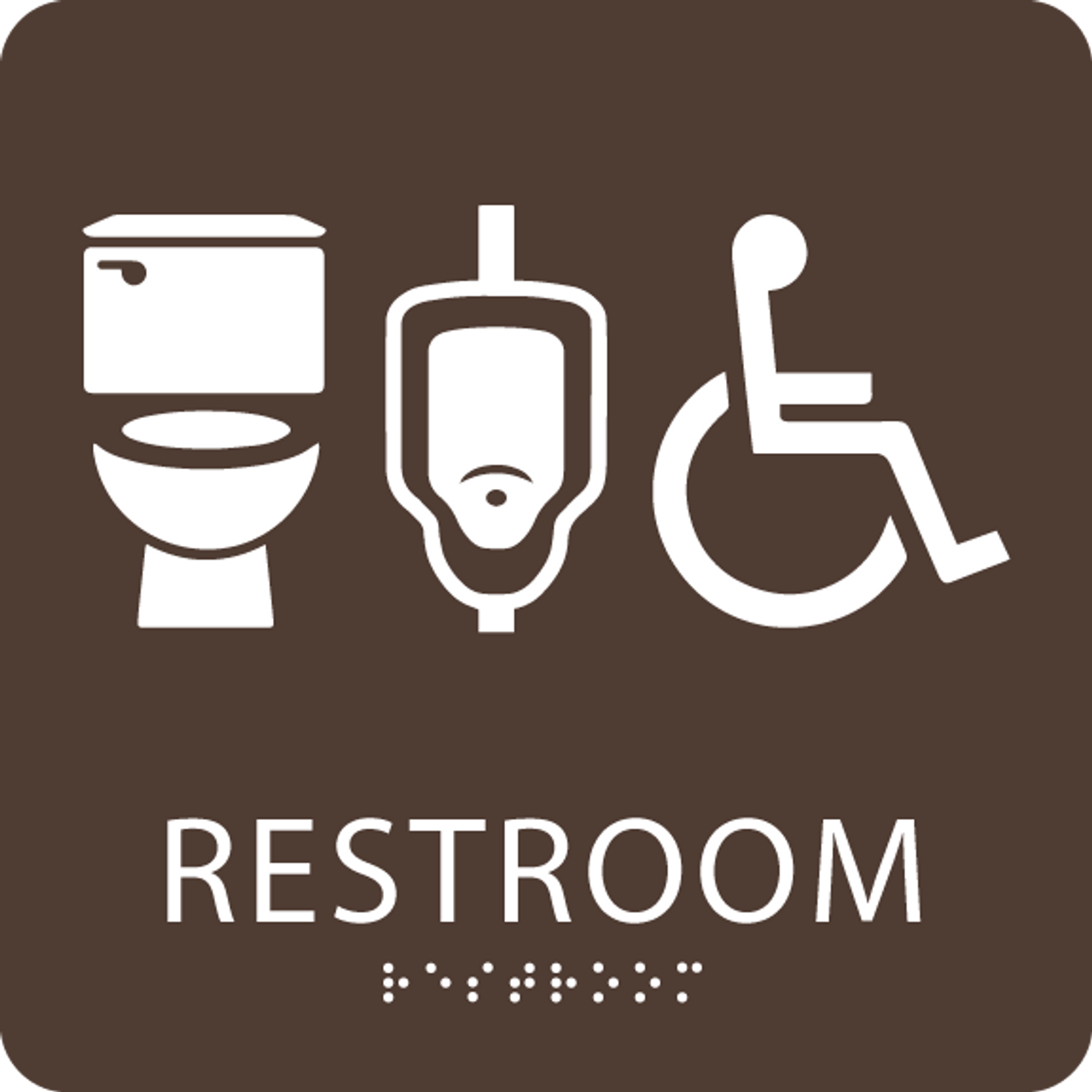 Brown restroom sign