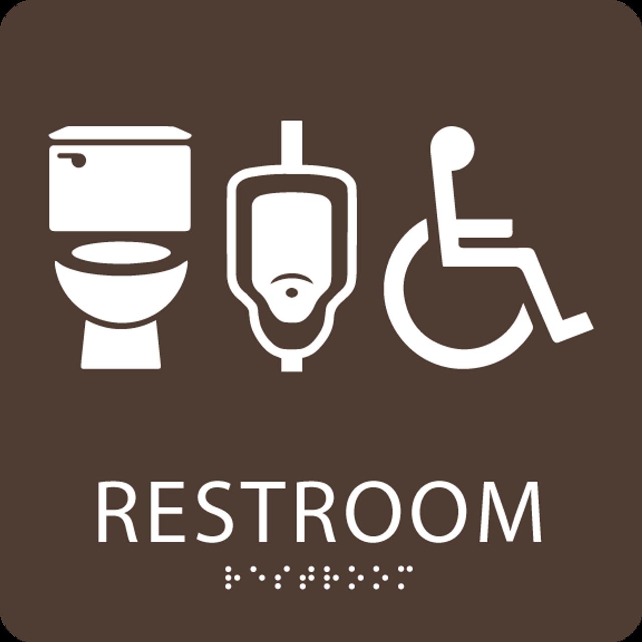 Brown restroom sign