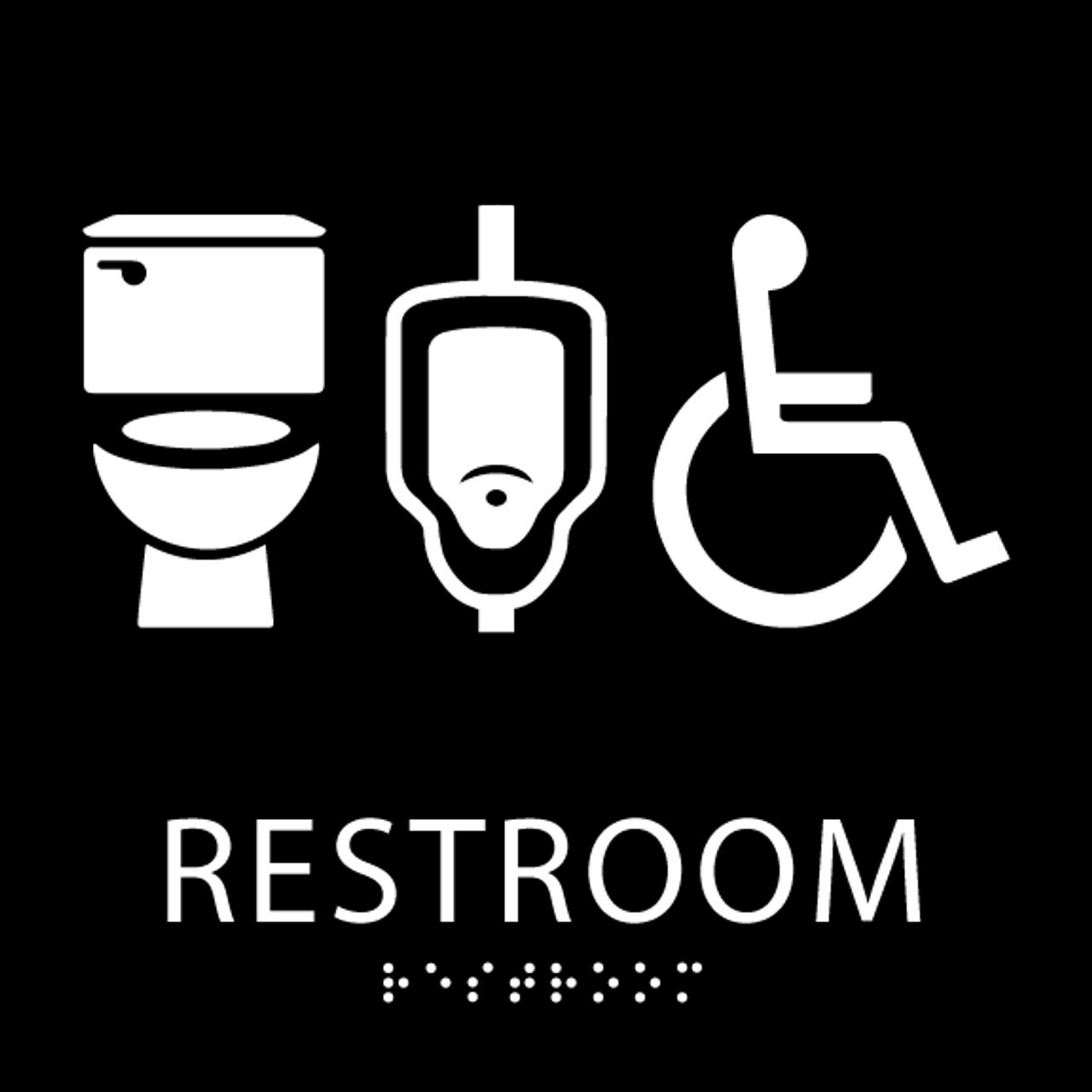 Black plastic restroom wall sign