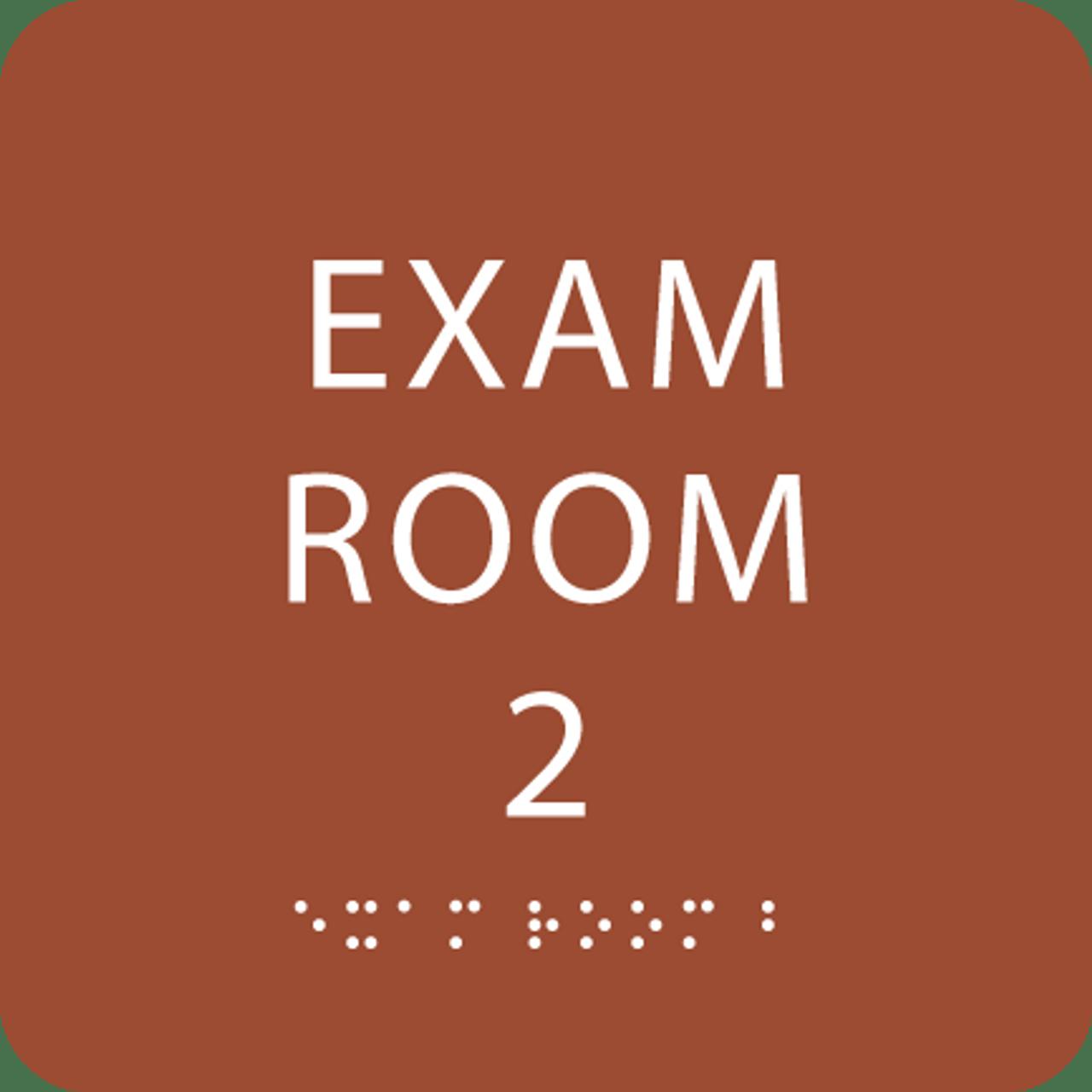 Orange ADA Exam Room 2 Sign with Braille