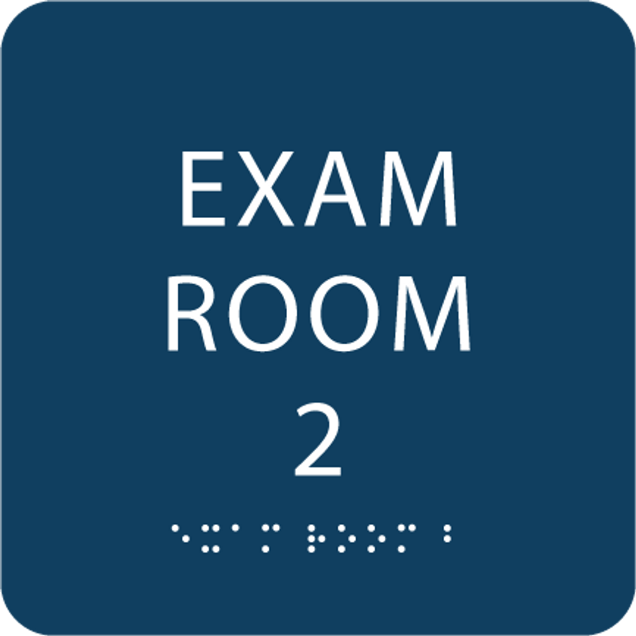 Dark BlueTactile exam room sign