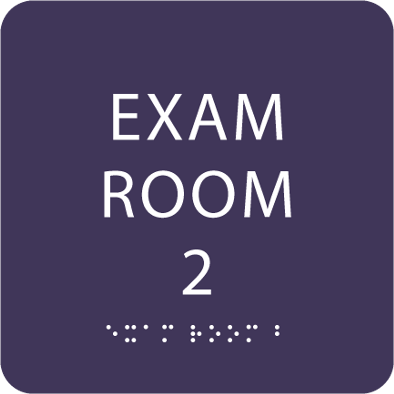 Purple ADA Exam Room 2 Sign with Braille
