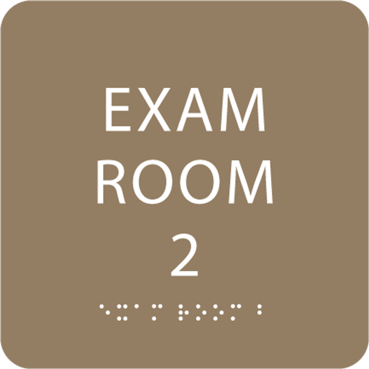 Light Brown ADA Exam Room 2 Sign with Braille