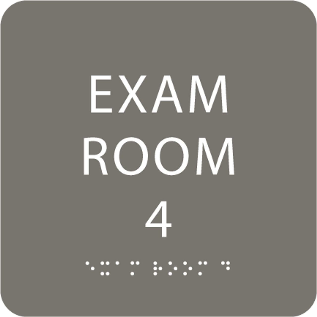 Dark Grey Exam Room 4 ADA Sign