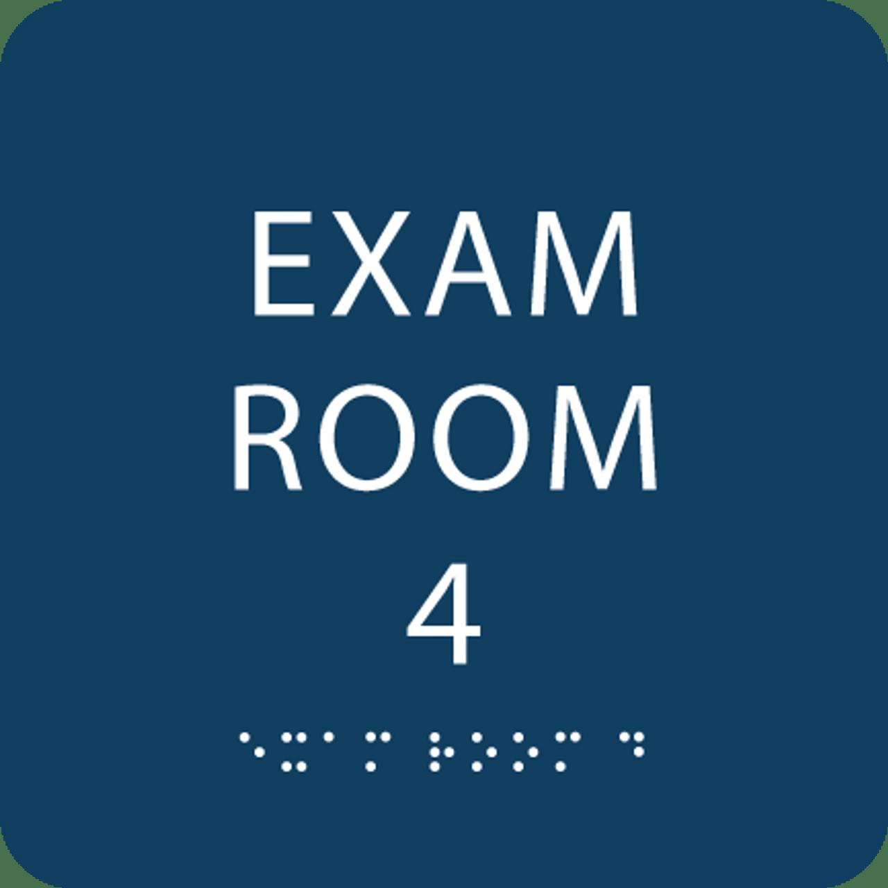 Dark Blue Exam Room 4 ADA Sign