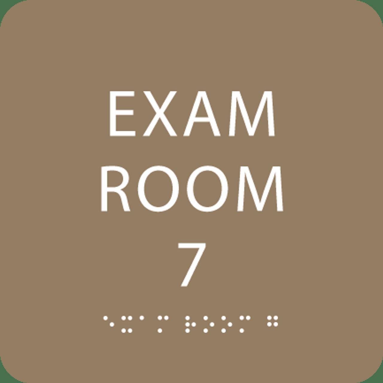 Light Brown Exam Room 7 Sign w/ ADA Braille