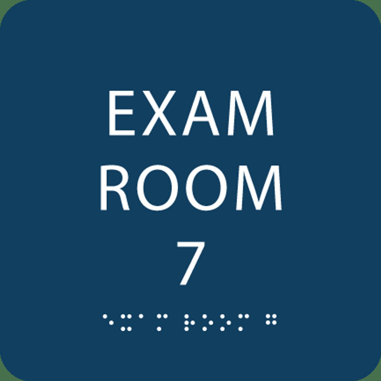 Dark Blue Exam Room 7 Sign w/ ADA Braille
