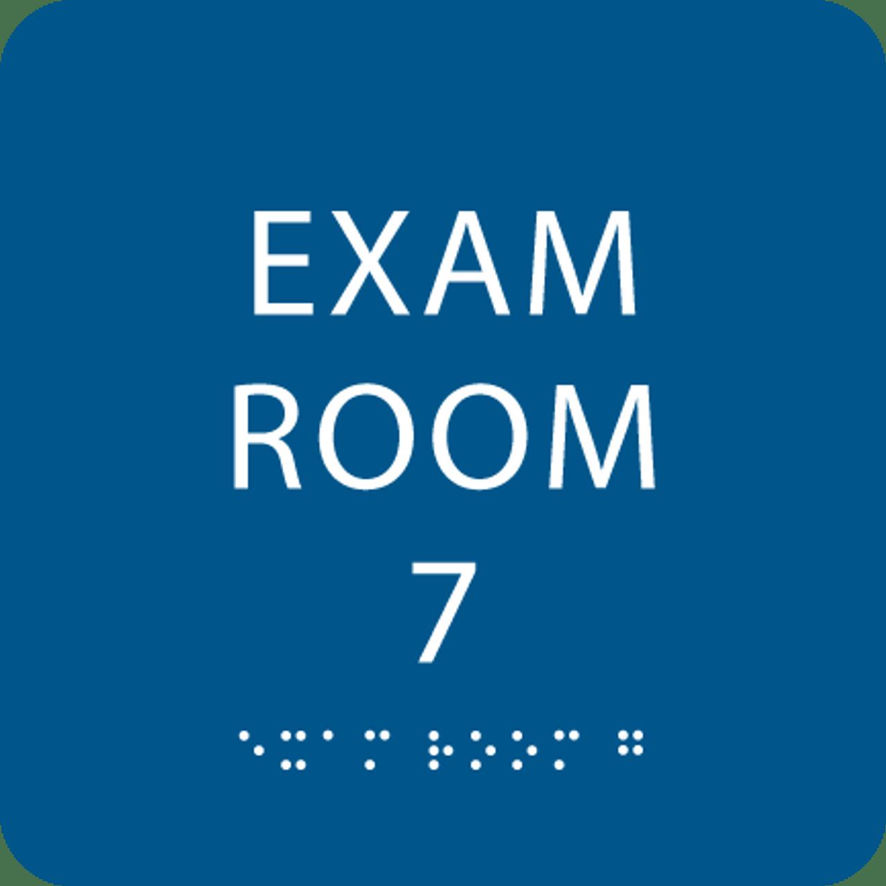Blue Exam Room 7 Sign w/ ADA Braille