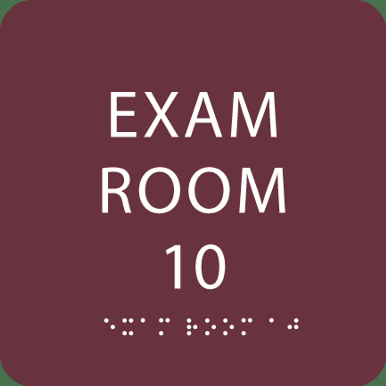 Burgundy Exam Room 10 Sign w/ ADA Braille