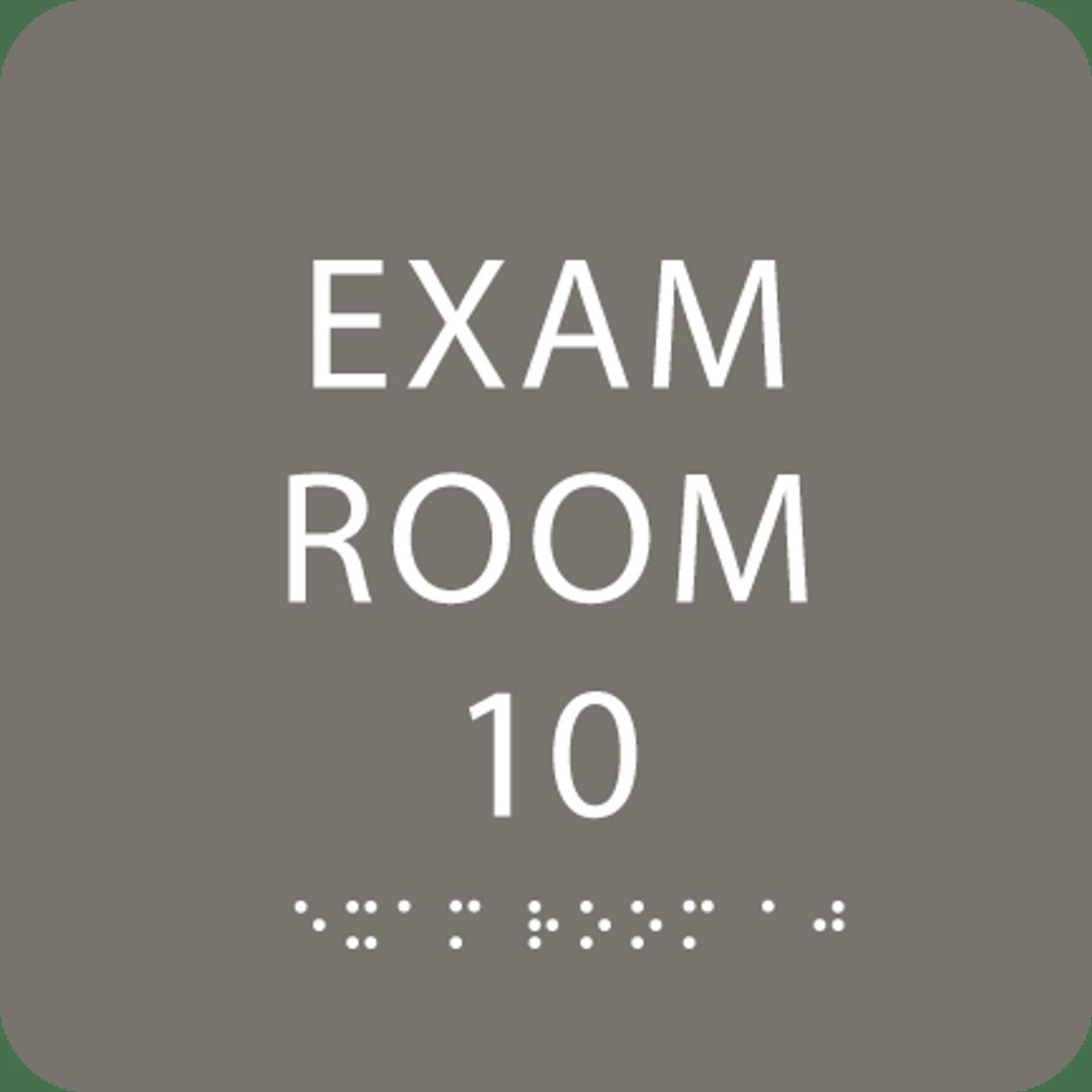 Dark Grey Exam Room 10 Sign w/ ADA Braille
