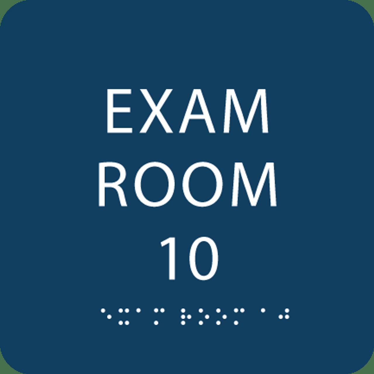 Dark Blue Exam Room 10 Sign w/ ADA Braille