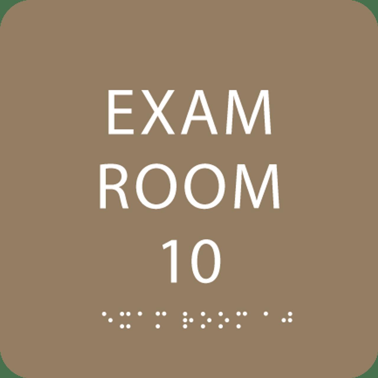 Light Brown Exam Room 10 Sign w/ ADA Braille