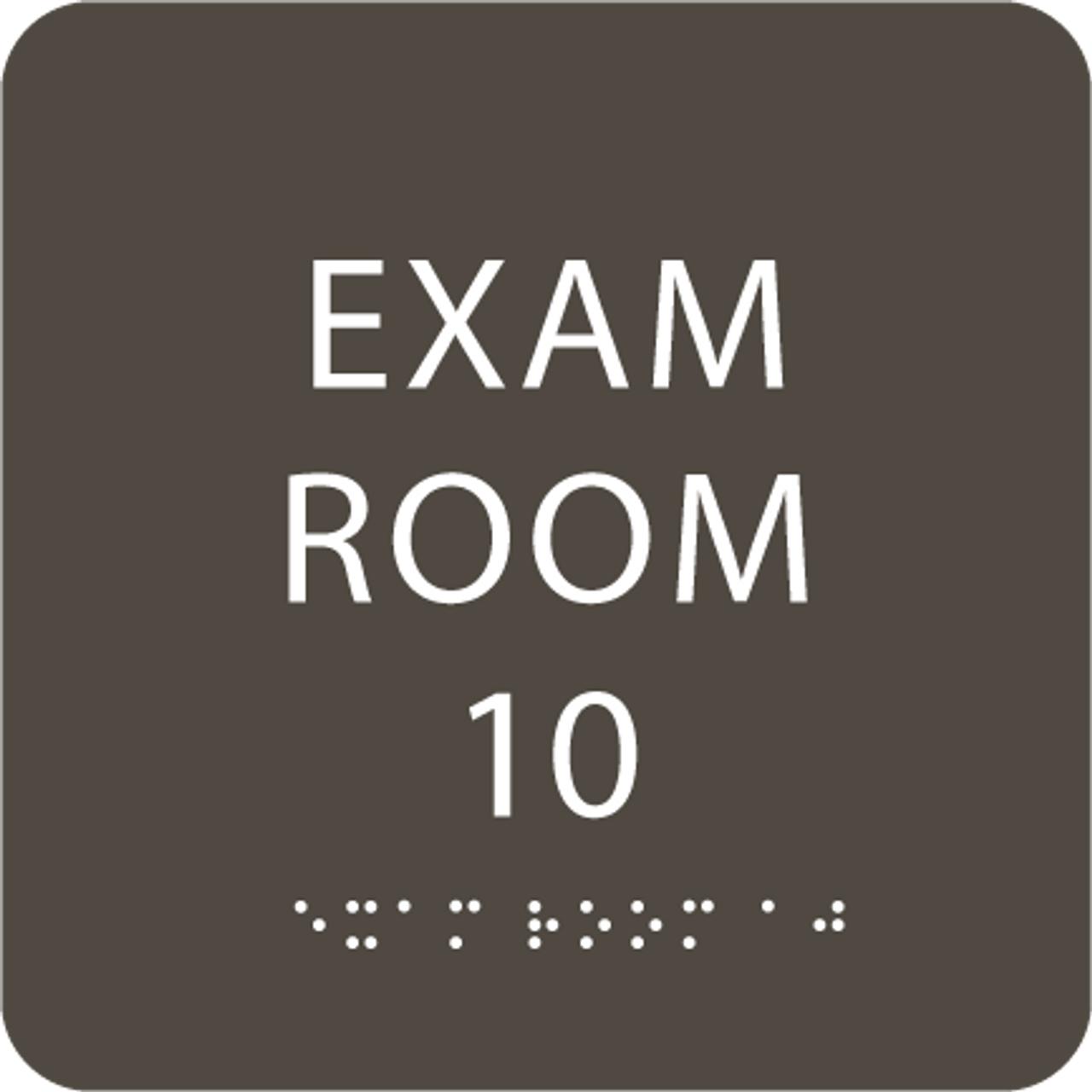 Olive Exam Room 10 Sign w/ ADA Braille