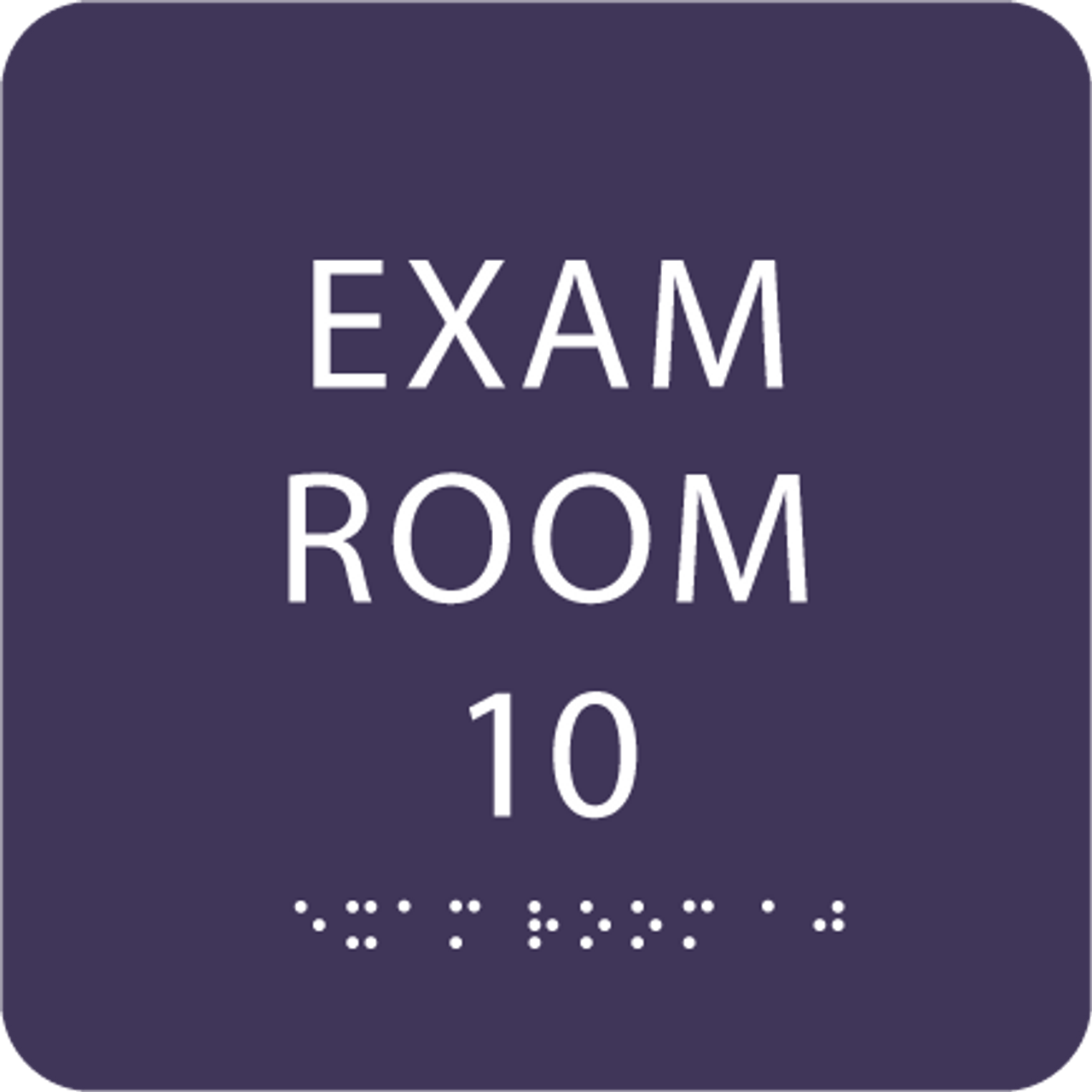 Purple Exam Room 10 Sign w/ ADA Braille