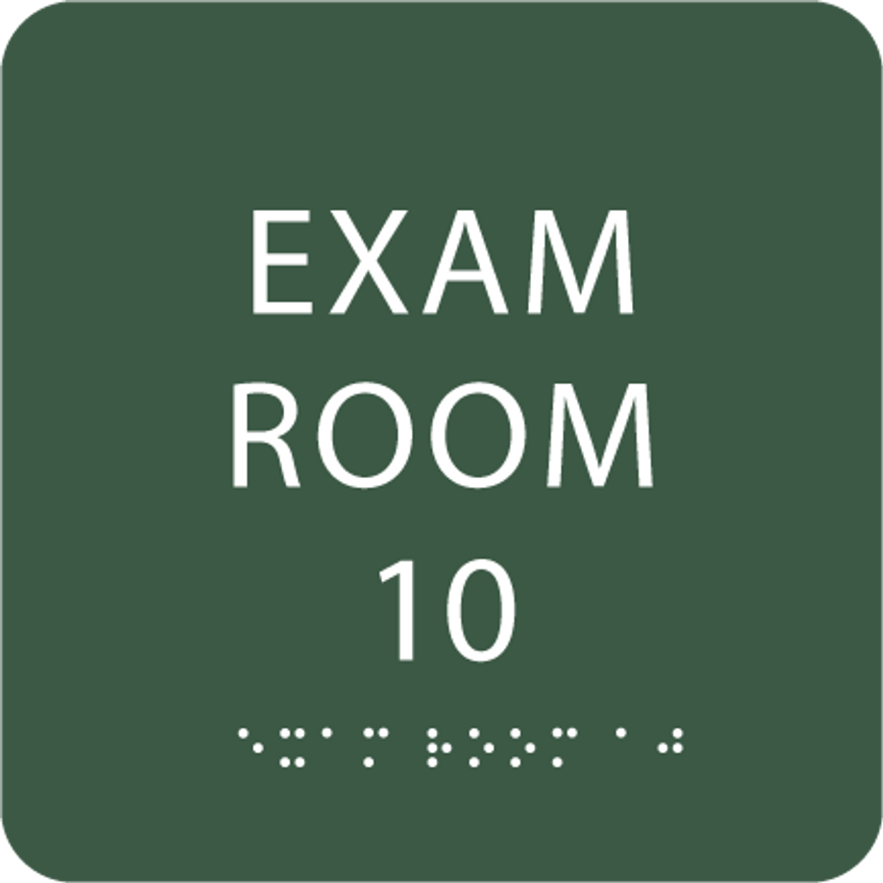 Spruce Exam Room 10 Sign w/ ADA Braille