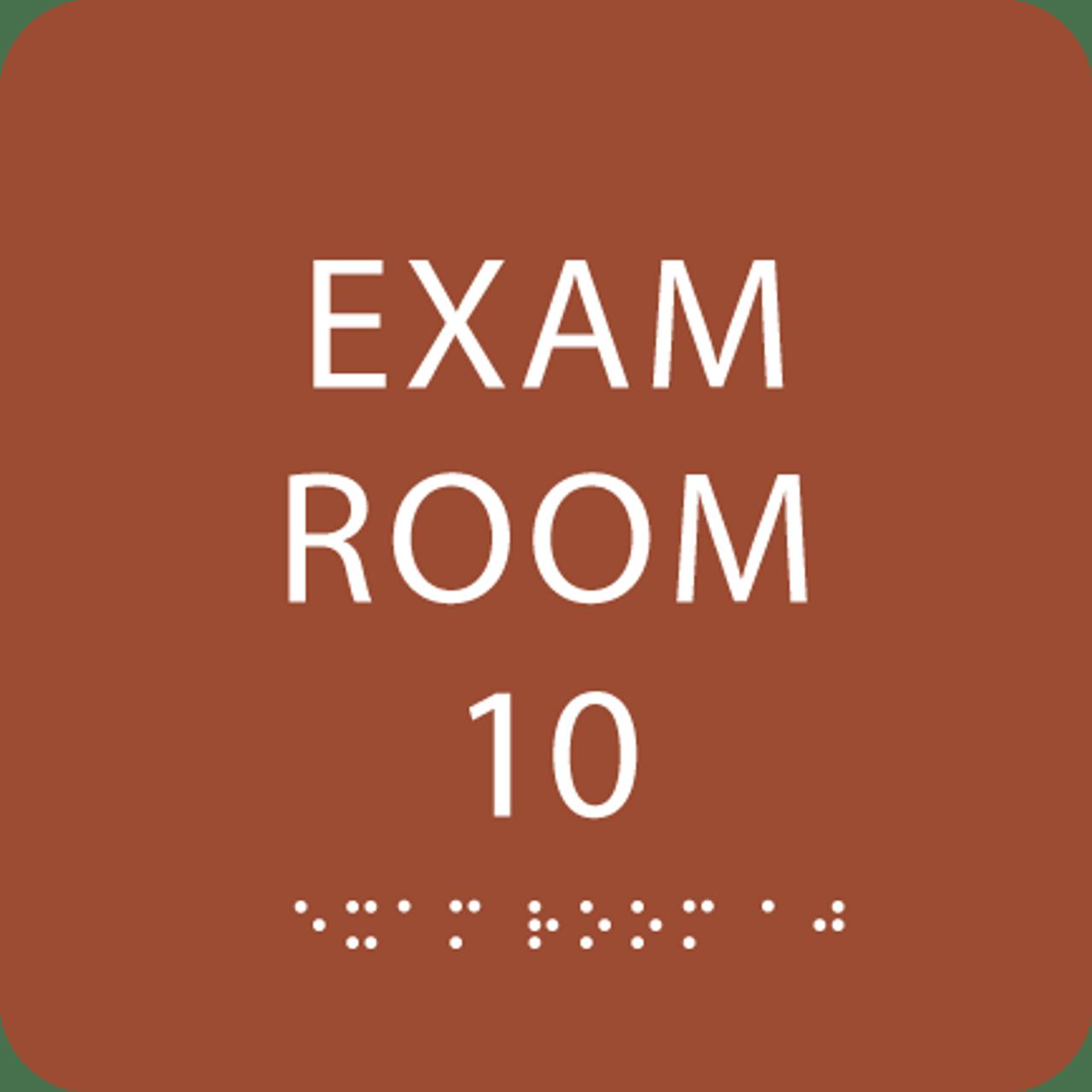 Orange Exam Room 10 Sign w/ ADA Braille