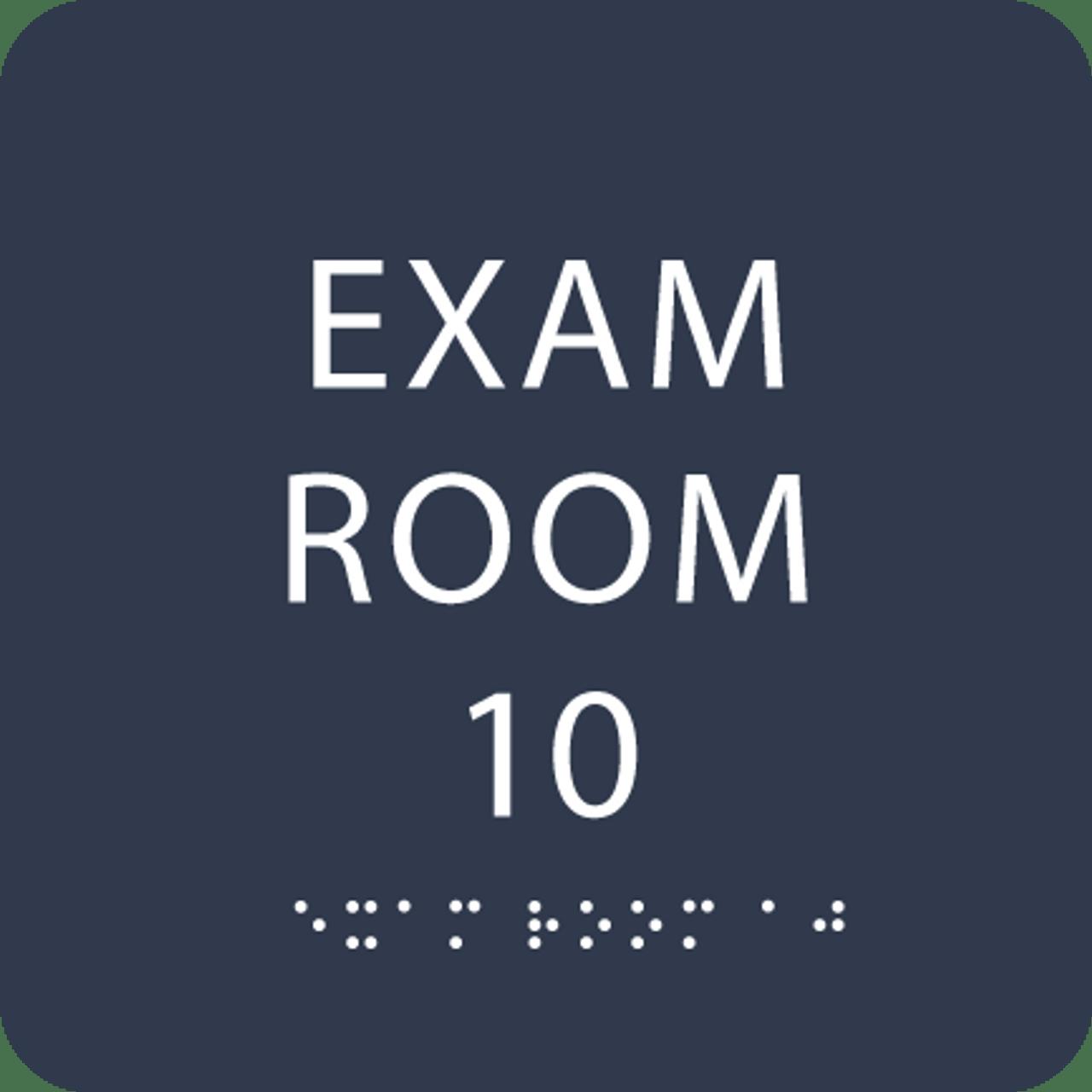 Navy Exam Room 10 Sign w/ ADA Braille