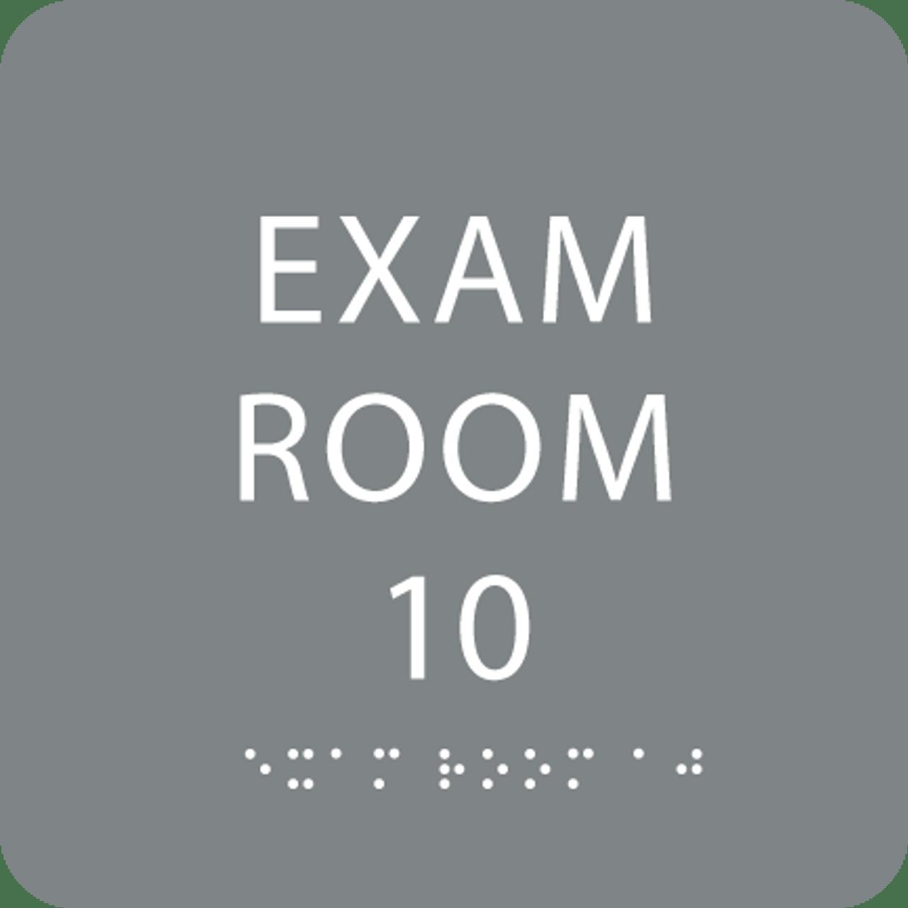 Grey Exam Room 10 Sign w/ ADA Braille