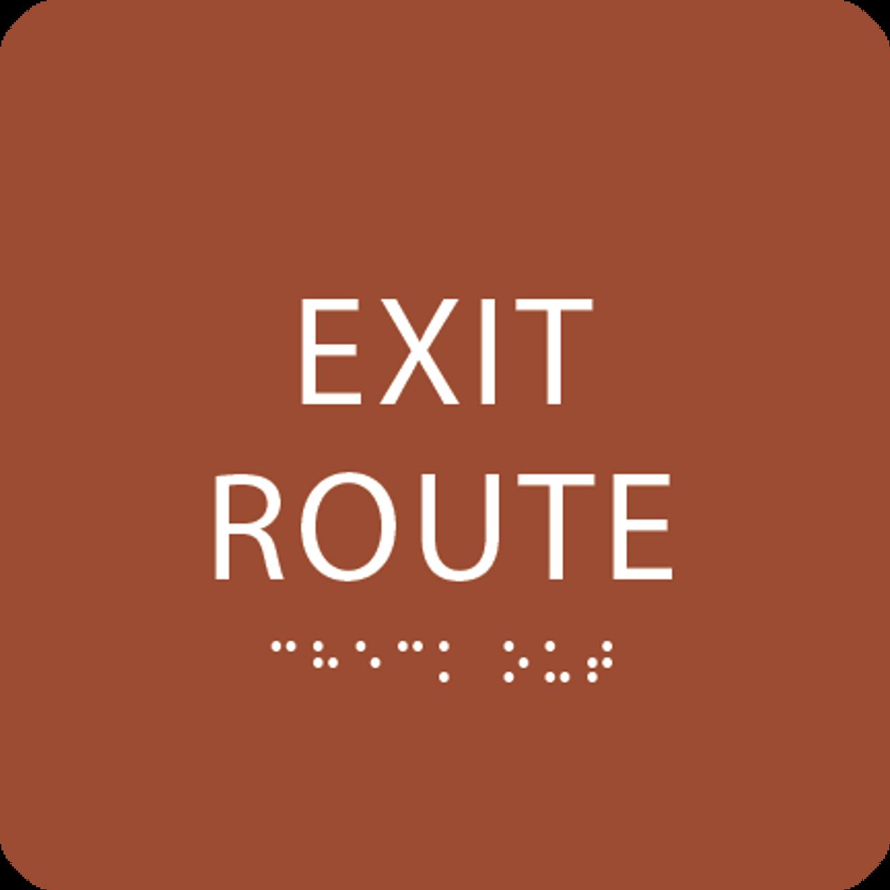 Orange Tactile Exit Route Sign