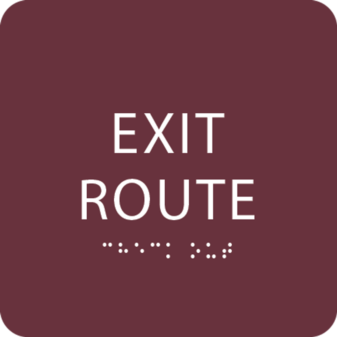 Burgundy Tactile Exit Route Sign